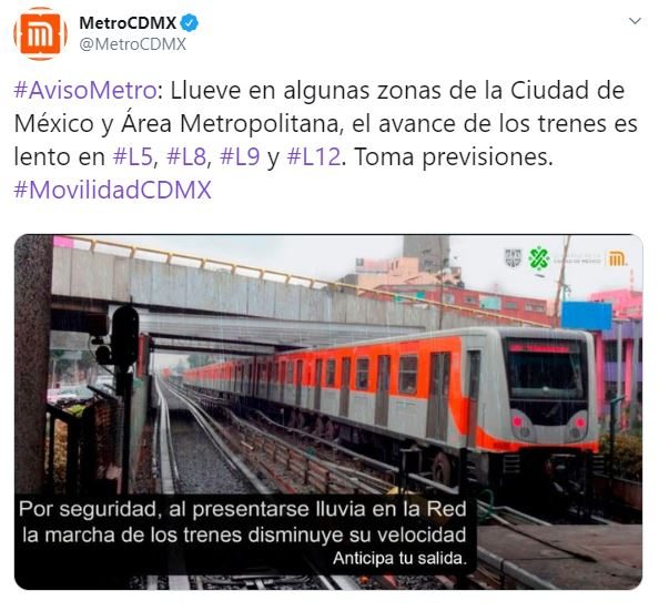 Foto Por lluvia, Metro CDMX presenta marcha lenta