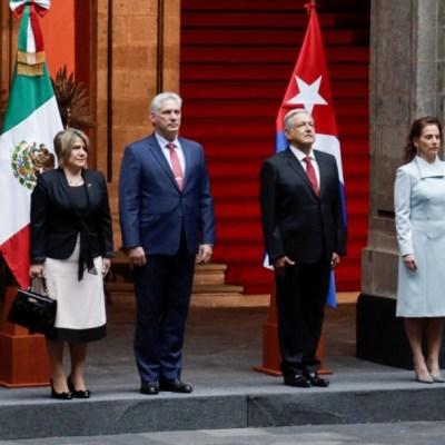 AMLO recibe en Palacio Nacional al presidente de Cuba