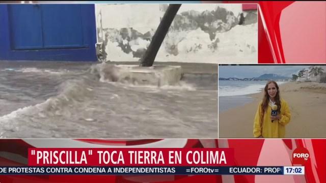 FOTO: 'Priscilla' toca tierra en Colima, 20 octubre 2019