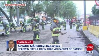 Reabren circulación en Circuito Interior Churubusco tras volcadura