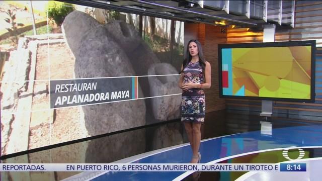Restauran cilindro de pieza de mil 200 años en Yucatán
