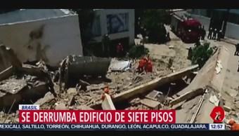 Se derrumba edificio de siete pisos en Brasil