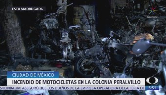 Se incendian motocicletas frente a taller en Exhipódromo de Peralvillo