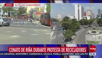 FOTO: Conato Riña Durante Bloqueo Recicladores Insurgentes Reforma