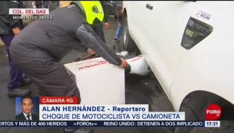 FOTO:Se registra choque entre motociclista y camioneta en Azcapotzalco, 25 octubre 2019