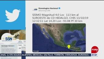 FOTO: Se registran sismos en Ciudad Hidalgo y Veracruz, 13 octubre 2019