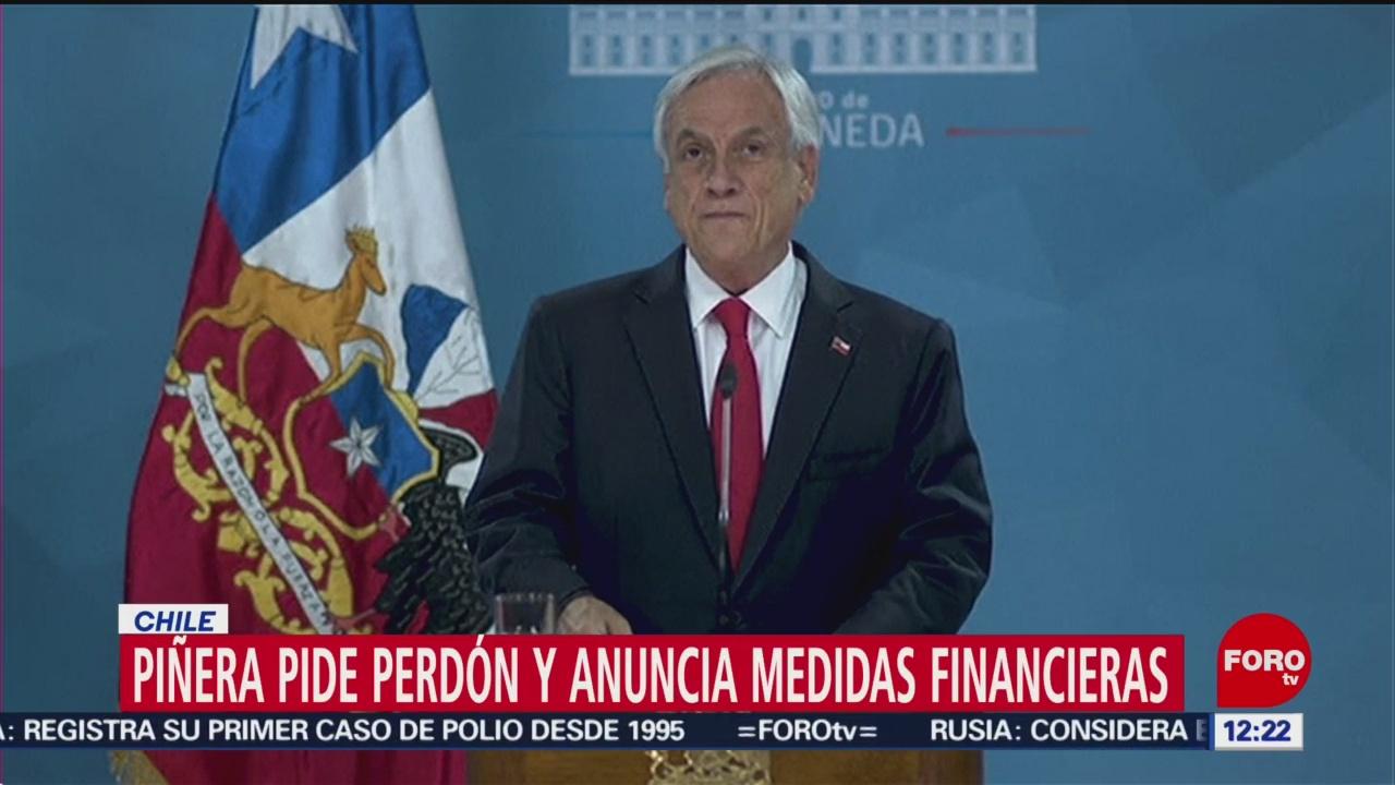 Sebastián Piñera ofrece disculpa por protestas en Chile