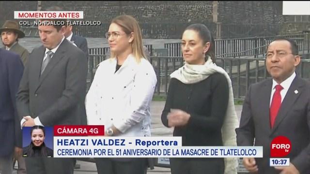 Sheinbaum iza bandera a media asta por masacre estudiantil, en Tlatelolco