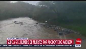 FOTO: Sube 6 muertos accidente avioneta Michoacán,