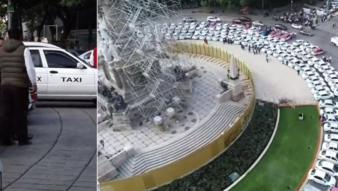 FOTO Taxis se concentran en el Ángel de la Independencia durante protestas del 7 octubre de 2019 (FOROtv)