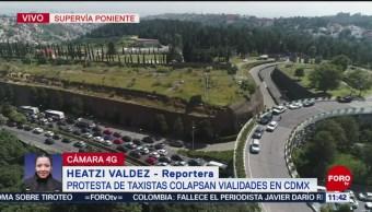 Taxistas bloquean Supervía Poniente; se habilitan retornos