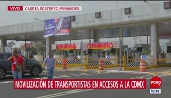 Transportistas son interceptados en caseta Ecatepec-Pirámides, pretenden levantar plumas