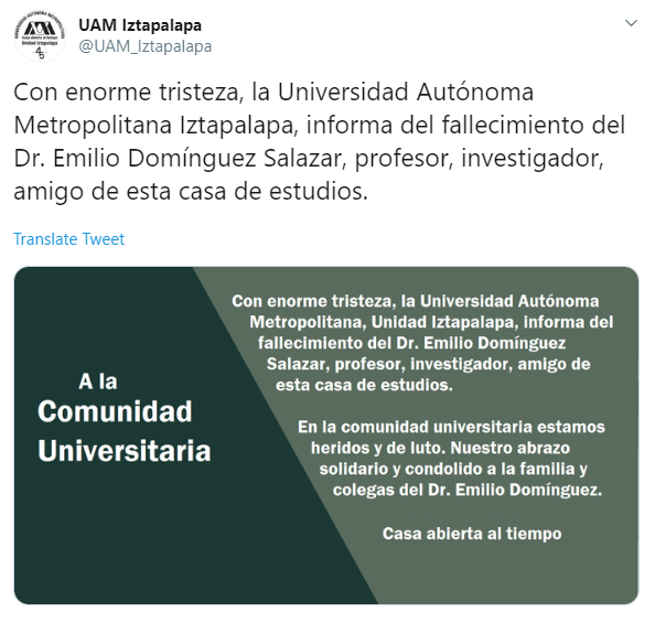IMAGEN UAM Iztapalapa confirma muerte del profesor Emilio Domínguez Salazar (Twitter)
