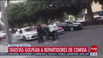 FOTO: Video grupo taxistas golpearon repartidor comida Polanco