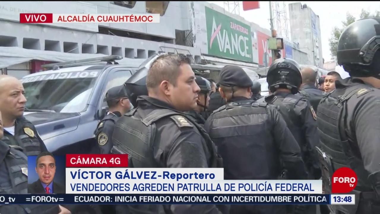 FOTO: Vendedores Agreden Patrulla Policía Federal CDMX