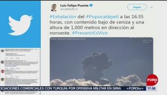 FOTO: Volcán Popocatépetl presenta nueva exhalación