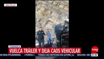 FOTO: Vuelca tráiler en carretera de Saltillo, Coahuila, 27 octubre 2019