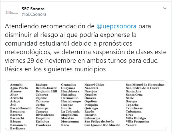 Foto: Suspenden clases en 66 municipios de Sonora por mal tiempo