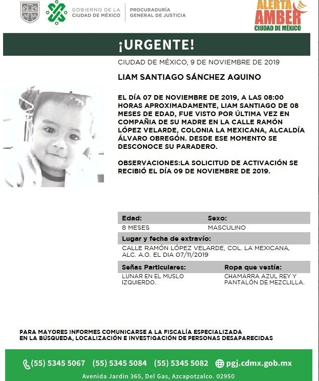 Foto: Activan Alerta Amber para localizar a Liam Santiago Sánchez Aquino, 11 de noviembre de 2019 (Twitter @PGJDF_CDMX)