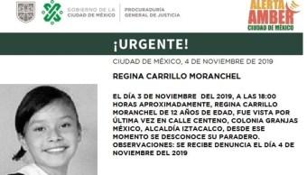 Foto: Alerta Amber: Regina Carrillo Moranchel. (Twitter @PGJDF_CDMX)