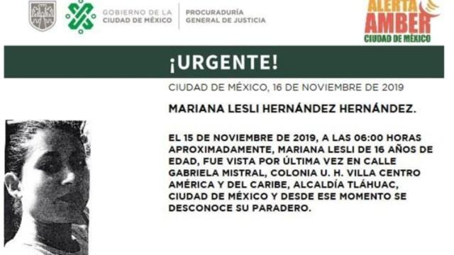 Imagen: Activan Alerta Amber para localizar a Mariana Lesli Hernández Hernández, 18 de noviembre de 2019 (Twitter @PGJDF_CDMX)