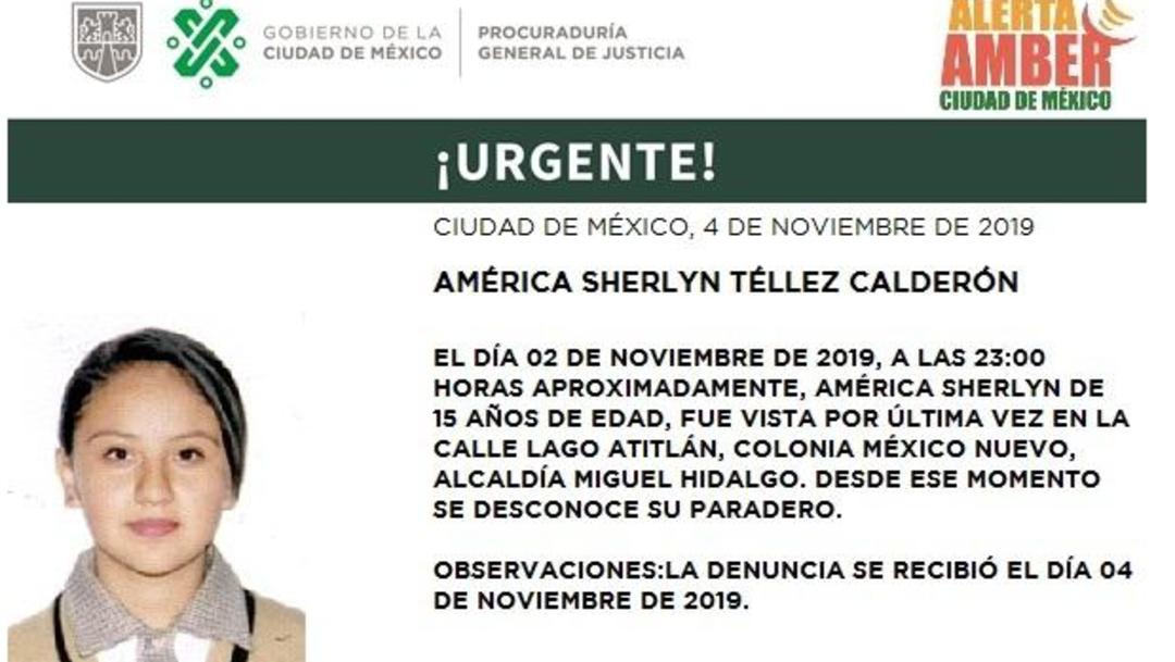 Foto: Alerta Amber: América Sherlyn Téllez Calderón, 4 de noviembre de 2019 (Twitter @PGJDF_CDMX)
