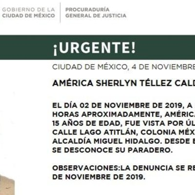 Alerta Amber para localizar a América Sherlyn Téllez Calderón