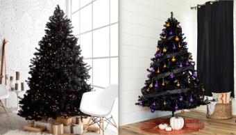 arboles-negros-pino-Navidad-decoraciones