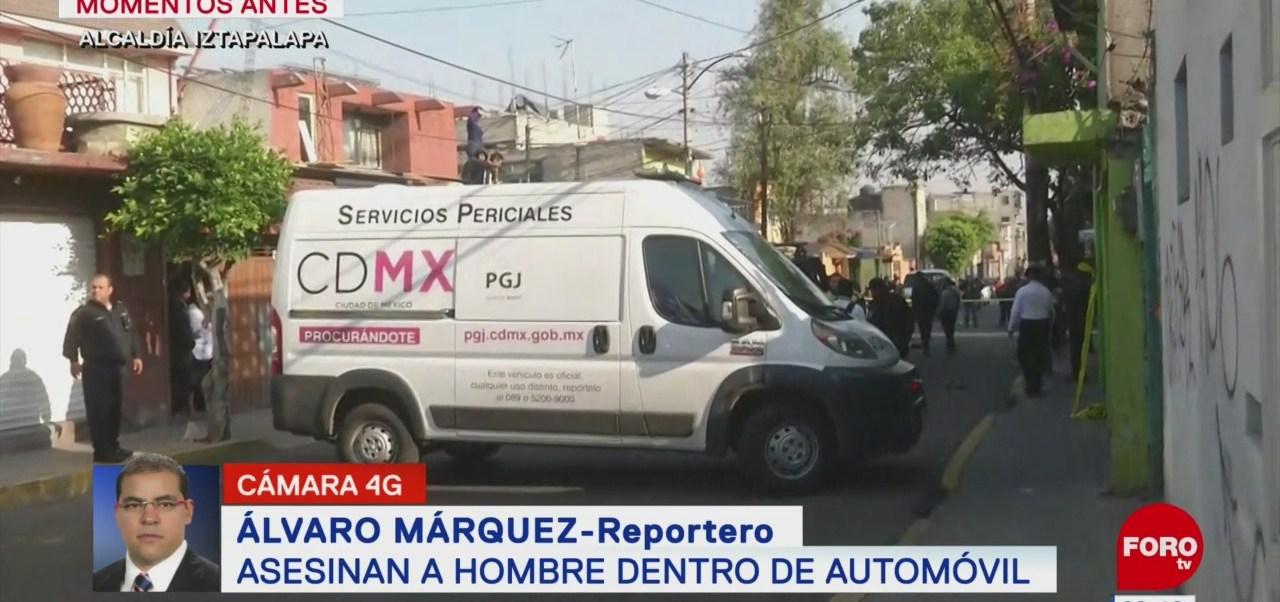 Asesinan a hombre dentro de un automóvil en la alcaldía Iztapalapa