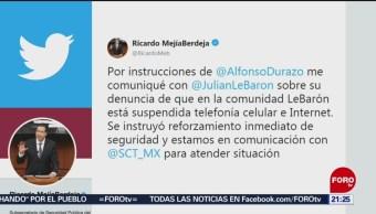 FOTO: Atienden a familia LeBarón tras denunciar fallas en Internet y líneas telefónicas, 9 noviembre 2019