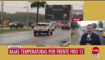 Bajas temperaturas por frente frío 12 en Coahuila