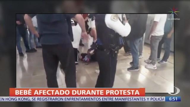 Bebé resultó afectado por gas pimienta durante protesta de policías federales