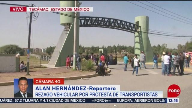 Bloqueo de transportistas afecta carretera libre México-Pachuca