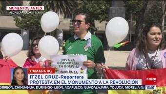 FOTO: Bolivianos realizan protesta pacífica en el Monumento a la Revolución, 10 noviembre 2019