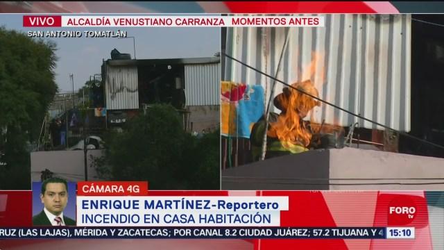FOTO: Bomberos controlan incendio en la alcaldía Venustiano Carranza, 24 noviembre 2019