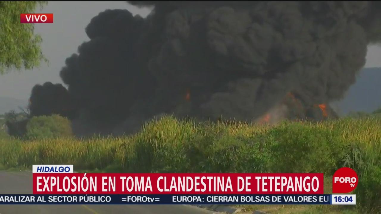 FOTO: Bomberos trabajan para controlar explosión toma clandestina Tetepango Hidalgo