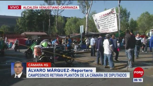 Campesinos retiran plantón de la Cámara de Diputados