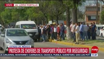 FOTO: Choferes de transporte público protestan en Edomex, 18 noviembre 2019