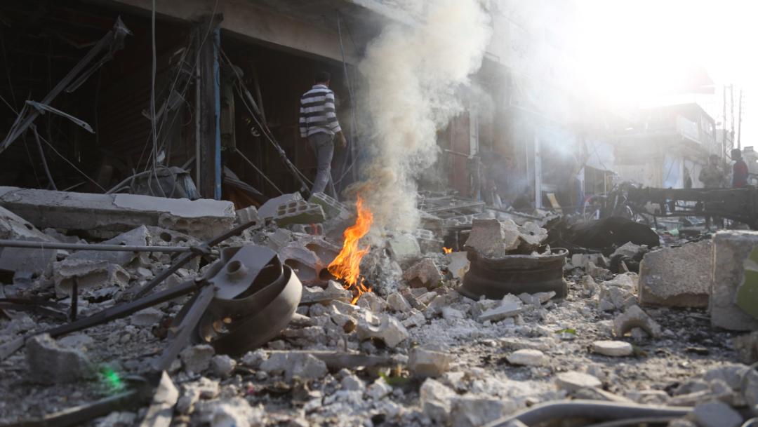 """Foto: Tal Abyad, ciudad fronteriza con Turquía, fue tomada por las fuerzas turcas tras la recién suspendida """"Operación Fuente de Paz"""" lanzada el 9 de octubre en el noreste de Siria, 2 de noviembre de 2019 (AP)"""