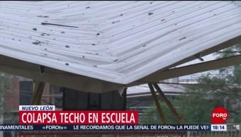FOTO: Colapsa techo escuela por fuerte viento Nuevo León