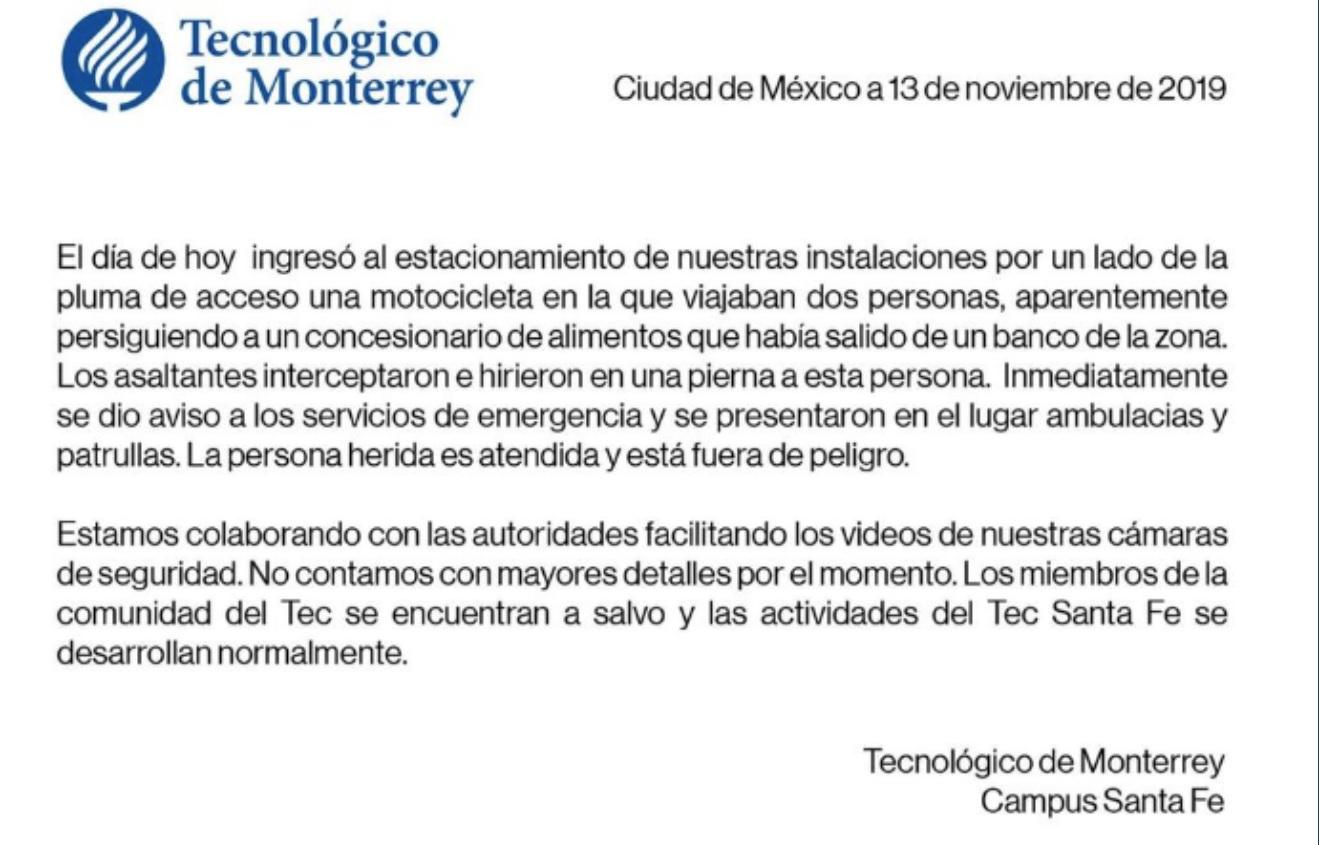 Comunicado del Tec de Monterrey.
