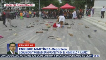 Comunidad transgénero protesta en Hemiciclo a Juárez de la CDMX