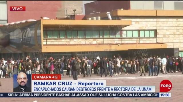 FOTO: Continúan actos vandálicos Rectoría UNAM