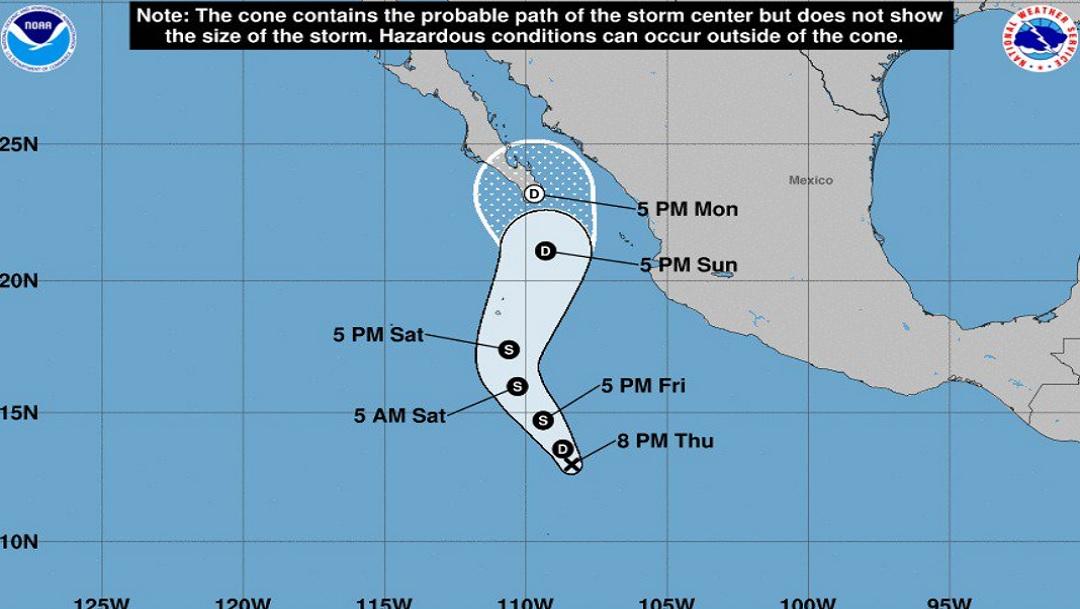 Depresión tropical Veinte-E se forma al sur de Cabo San Lucas; advierten lluvias este fin de semana largo - Noticieros Televisa