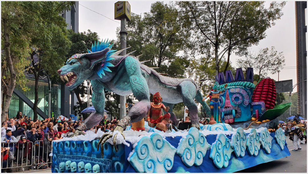 Foto: En el Mega Desfile del Día de Muertos se representó a la muerte según Tláloc, 2 de noviembre de 2019 (Secretaría de Cultura)