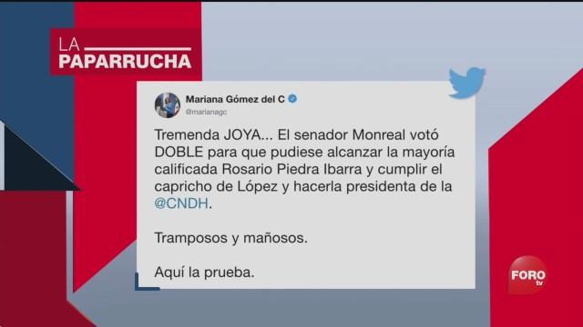 FOTO: El doble voto de Ricardo Monreal a favor de Rosario Piedra Ibarra, la paparrucha del día, 11 noviembre 2019