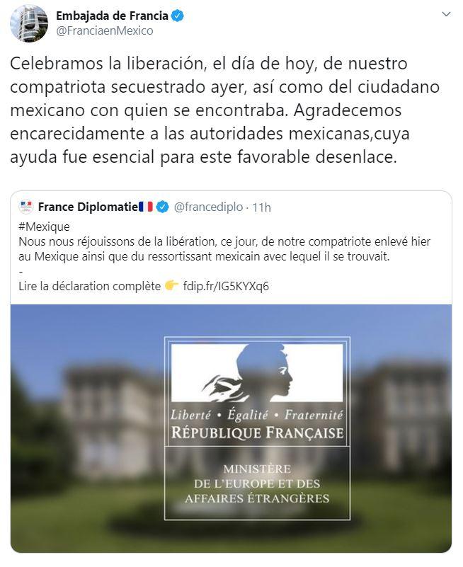 Embajada de Francia en México agradece a las autoridades mexicanas