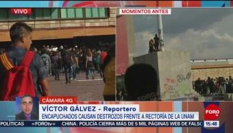 FOTO: Encapuchados logran bajar Bandera México Rectoría