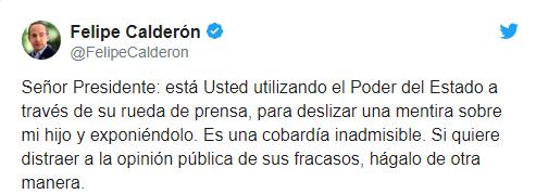IMAGEN Felipe Calderón responde a AMLO por informe de bots (Twitter)