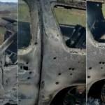 Foto: Camionetas baleadas y quemadas de la familia LeBarón en el municipio de Bavispe, Sonora. Efe